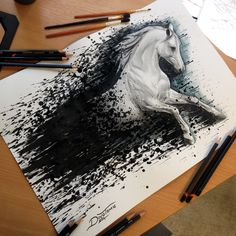 Horse Color Pencil Drawing This is not a splatter drawing like i did in the…