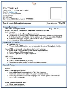 mba finance fresher resume template 2 career pinterest