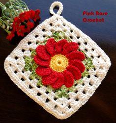 PINK ROSE CROCHET: Pega Panelas com Flor em Quadrado