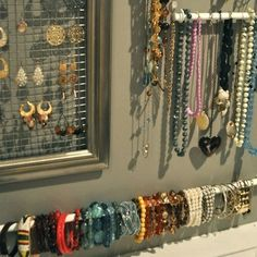 How To: Jewelry Wall, Part inexpensive DIY jewelry organization Jewellery Storage, Jewellery Display, Diy Jewellery, Fashion Jewelry, Jewellery Stand, Earring Display, Handmade Jewelry, Vintage Jewelry, Earring Storage