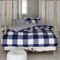 Essenza Checkerboard Double Duvet Cover Set, Blue