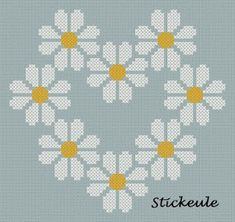 This lovely daisy-themed chart from Stickeule will make a great project to stitch. You could also pull out one single daisy and stitch it too. Get the free chart.