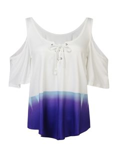 Sale 22% (15.29$) - Casual Women Gradient Printing Strapless Loose T-shirt