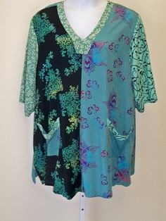 Funky Turquoise Patch Tunic * Art to Wear * One Size Plus