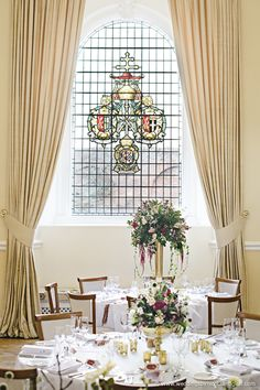 Stained glass window in The Great Hall at Farnham Castle. Wedding Venues Surrey, Dream Of Getting Married, Wedding Ceremony, Wedding Flowers, Castle Weddings, Wedding Inspiration, Entertaining, Table Decorations, Stained Glass