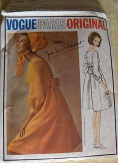 VPO 1690 Yves St. Laurent Empire Dress Size 10-31-33 60s Cut 45.55+5 on 5-11-13