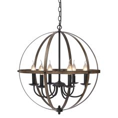 KingSo Pendant Light 6 Light Rustic Metal Chandelier Oil Rubbed Bronze Finish Wood Texture Industrial Ceiling Hanging Light Fixture for Indoor Kitchen Island Dining Living Room Farmhouse Dining Table Chandelier, Kitchen Chandelier, Globe Chandelier, Ceiling Chandelier, Rustic Chandelier, Farmhouse Chandelier, Bronze Chandelier, Dining Lighting, Globe Pendant