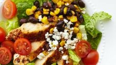 BBQ chicken chopped salad loaded with black beans, corn, bell pepper, and jicama is a refreshing meal similar to a famous pizza chain's salad.
