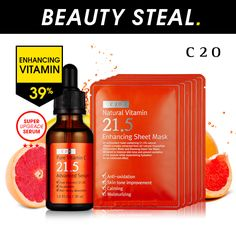 The ultimate natural vitamin experience for beauty explorers !  With the C20 Pure Vitamin C21.5  Advanced Serum for the ultimate  vitamin C experience to amplify  and maximize the results.
