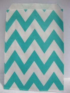 Chevron Stripe, Aqua, Food Treat and Favor Paper Bags 12 Pk 5X7 - Twilight Parties * Visit the image link more details.