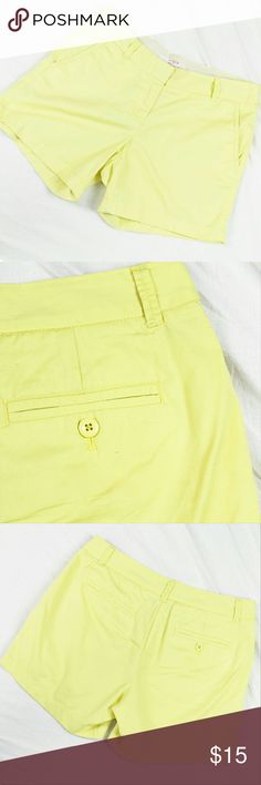 "J. Crew Chino Shorts Preppy lemon yellow chino shorts from J. Crew in gently used condition. Features a 3"" inseam with button pockets.   Please let me know if you have any questions or need more pictures. I will consider all reasonable offers, but no trades, please. J. Crew Shorts"