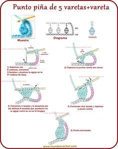 Ananasový steh s 5 háčkováním nebo háčkováním nebo háčkováním Crochet Stitches For Beginners, Beginner Crochet Tutorial, Crochet 101, Crochet Instructions, Crochet Basics, Filet Crochet, Crochet Tunic Pattern, Crochet Diagram, Crochet Motif