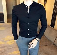 2018 New Men's Fashion Boutique Cotton Solid Color Collar Casual Business Long-sleeved Shirts Male Slim High-end Leisure Shirts-cgabuy Best Business Casual Outfits, Stylish Mens Outfits, Mens Fashion Wear, Men's Fashion, Street Fashion, Fashion Guide, Fashion Styles, Fashion Clothes, Fashion Rings