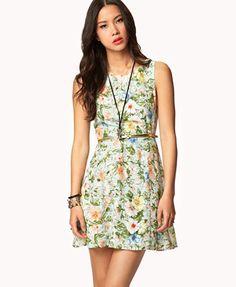Sketched Floral Dress w/ Skinny Belt