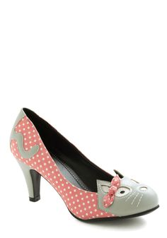 Meow's the Time Heel in Pink - Coral, Grey, Kawaii. The ultimate in crazy cat lady fashion.