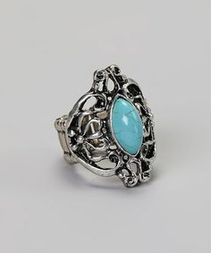This Silver & Turquoise Filigree Stretch Ring is perfect! #zulilyfinds