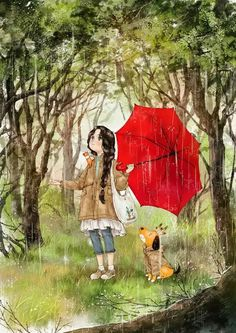 Illustrations By Korean Artist Show The Happiness And Tranquility Comes With Solitude Art Anime Fille, Anime Art Girl, Forest Illustration, Illustration Girl, Art Sketches, Art Drawings, Illustration Mignonne, Art Mignon, Rain Art