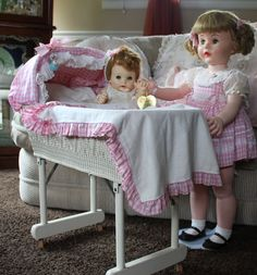 RARE so rare I can't find another picture on the internet.......... Mary Jane and My Fair Baby Bassinet Combination Set  The only thing missing is a long sought after Bassinet Skirt that resembles the bottom of Mary Janes Dress..If you have one for sale please feel free to email me....Jan's