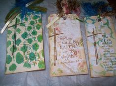 Mixed media tags sent to a nursing home in NH.
