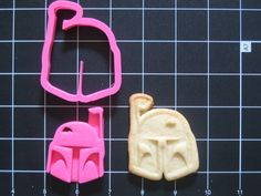 Boba Fett Cookie Cutter Stamp Set Star Wars Pink BPA FREE   Unique Cookie Cutters