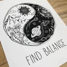 Yin Yang print find balance ying yang Cactus Let that shit – Finding balance Space Drawings, Art Drawings Sketches, Easy Drawings, Tattoo Drawings, Ink Illustrations, Tattoo Sketches, Arte Yin Yang, Yin Yang Art, Yin And Yang