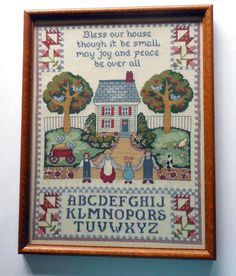 """Framed Sampler Counted Cross Stitch  Bless Our House ABCs Quilting   18"""" x 14"""""""