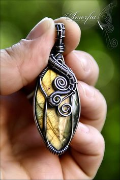 labradorite and sterling silver wire wrapped pendant