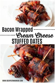 Bacon Wrapped Cheese Stuffed Dates cream cheese - I've had with bleu. Parcook bacon first! The most delicious small bites. They're the perfect real food snack to enjoy with someone you love. Gluten Free Appetizers, Easy Appetizer Recipes, Appetizer Ideas, Recipes Dinner, Holiday Recipes, Bacon Wrapped Appetizers, Party Appetizers, Christmas Appetizers, Bacon Wrapped Dates