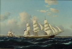 Carl Ludwig Bille - Russian vessel off the coast of Elsinore & Kronborg Castle | From a unique collection of more art at http://www.1stdibs.com/art/more-art/