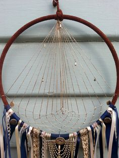 Handmade Regal Spun Gold Large Dream Catcher Navy