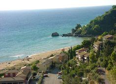 Glyfada Beach, Corfu, Greece Glyfada Greece, Hillside Village, Corfu Town, Cypress Trees, Beach Villa, Beautiful Beaches, Wonders Of The World, Places Ive Been, Scenery