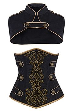 Authentic Steel Boned Underbust Corset 9 Flat Steel Bone, 5 Spiral Steel Bone Fabric: Brocade and Velvet