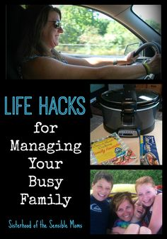 Life Hacks for Managing Your Busy Family: From how to rock the crockpot and carpool, to organizational apps and tricks, these tips will siphon the crazy out of your week.  | Parenting Advice and Time Management | Sisterhood of the Sensible Moms