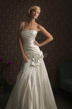 Robe de mariée moderne officiel en chute en satin ligne a
