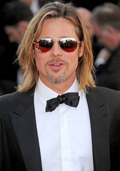 """Brad Pitt in Tom Ford 'William' gold mirrored aviators at """"Killing Them Softly"""" Premieres in Cannes"""