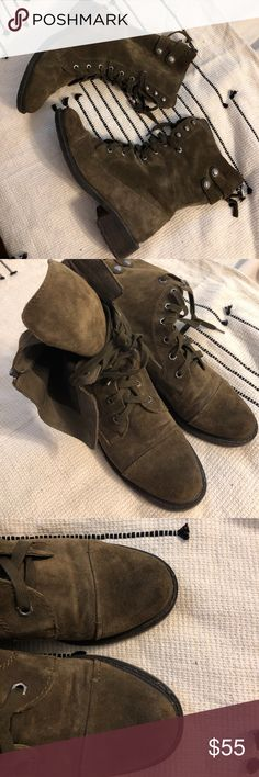 Sam Edelman Army Green Suede Combat Boots The suede on these boots is to die for! I loved them from the moment I saw them and are so on trend right now. Army green suede, snaps and zipper in back. Only worn a few times. No stains or scuffs. Sam Edelman Shoes Combat & Moto Boots