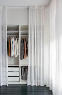 Curtain Wardrobe, Closet Curtains, Wardrobe Room, Wardrobe Small Bedroom, Wardrobe Ideas For Small Rooms, Bedroom Closet Design, Room Ideas Bedroom, Closet Designs, Home Decor Bedroom