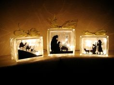 Another Christmas glass Block Idea~ Nativity Scene- this can be done with vinyl silhouettes that you trace and cut out from a printed pic off the internet or you can use your cricut. Beautiful!