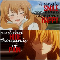A single smile can. Sad Anime Quotes, Manga Quotes, Smile Quotes, True Quotes, Anime Depression, Depression Quotes, Interesting Quotes, Stupid People, Golden Time