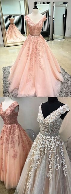 Custom made v neck lace tulle long prom dress, evening dress – trendty