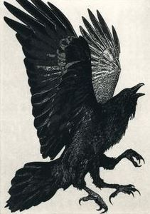 Larry Vienneau Jr. | The Three Legged Birds- Sanzuwu, Yatagarasu, and Samjok-o | In Chinese mythology, the three-legged crow SANZUWU is responsible for the sun's passage across the sky  (Aquatint etching 5 inch x 7 inch),  2011