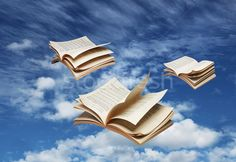Stock fotó: Három · nyitva · könyvek · repülés · kék · ég · fantázia