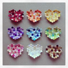 "A rainbow of Hexie hearts! 1/2"" hexies paperpieces.com"