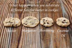 Ever wondered if you could substitute margarine, shortening etc in cookies? We tested them all for you and provide not only pics but how the taste and texture will change too! - Oh Sweet Basil