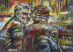 You could be right - painting of two men in conversation in an Irish pub by Donegal artist Stephen Bennett. Irish Landscape, Irish Art, Irish Traditions, Donegal, Figure Painting, Original Paintings, Art Gallery, The Originals, Studio
