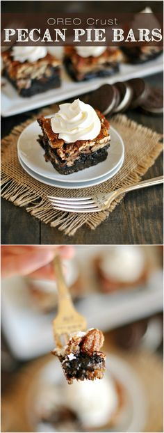 Ooey, gooey pecan pie bars with a decadent Oreo crust! A genius twist on a classic pie! Make for Mark? Cookie Desserts, No Bake Desserts, Just Desserts, Cookie Recipes, Delicious Desserts, Dessert Recipes, Nutella Recipes, Cake Bars, Dessert Bars