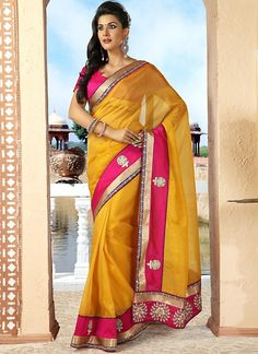 Unique Deep Pink Yellow Art Silk Saree