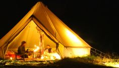 Sandstone Canvas Bell Tent -- This tent by Boutique Camping is made from 100% canvas in either 4 or 5 metre sizes. The design is directly based on military tents from the 19th Century and as such, they are easy to put up and take down, plus they provide space for a surprising number of people.
