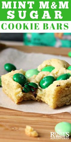 Mint M & M Sugar Cookie Bars by Renee's Kitchen Adventures - easy recipe for sugar cookie bars studded with green mint M&M's for a sweet treat! Sugar Cookie Bars, Sugar Cookies Recipe, Yummy Cookies, Cookie Recipes, Cookie Swap, Dessert Recipes, Mms Recipe, Bar Cookies, Dessert Ideas