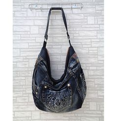 Hobo bag slouchy tote handbag purse shoulder recycled by BukiBuki